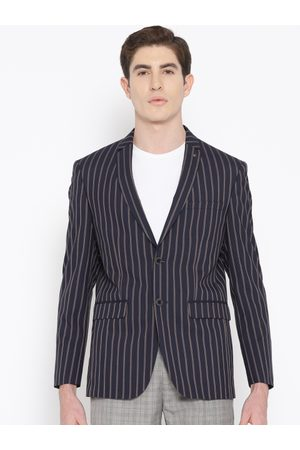 Louis Philippe Men Navy Blue & Brown Slim Fit Striped Casual Blazer