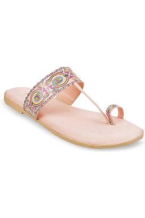 All Things Mochi Women Pink Printed One Toe Flats