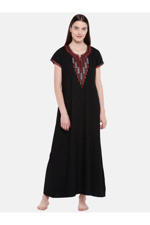 Sand Black Embroidered Nightdress