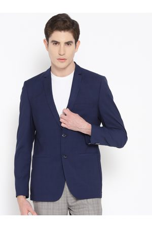 Louis Philippe Men Navy Blue Super Slim Fit Self-Checked Casual Blazer