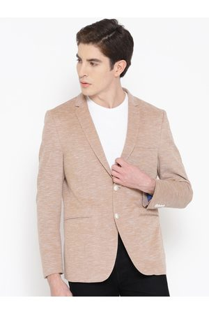 Louis Philippe Men Beige Self-Design Single-Breasted Casual Blazer