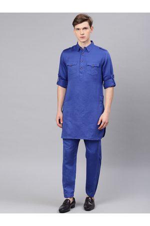 Freehand Men Blue Solid Kurta with Pyjamas