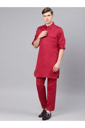 Freehand Men Red Solid Kurta with Pyjamas