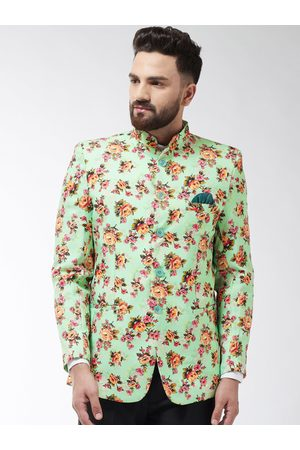 SOJANYA Men Green & Yellow Printed Bandhgala Blazer