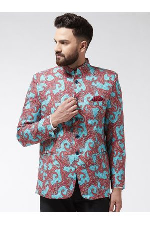 SOJANYA Men Sea Green & Maroon Printed Bandhgala Blazer