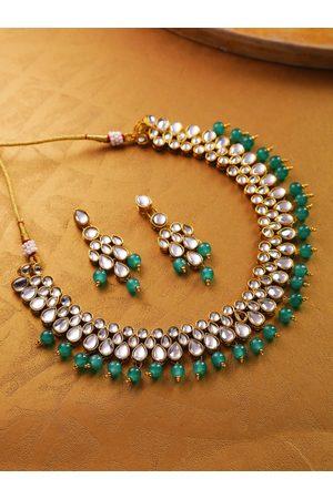 Jewels Galaxy Women Green Gold-Plated Stone-Studded Beaded Jewellery Set