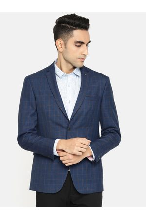 Louis Philippe Men Navy Blue & Maroon Checked Slim Fit Single-Breasted Formal Blazer