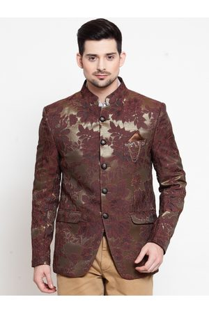 LUXURAZI Men Brown Printed Slim-Fit Bandhgala Blazer