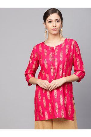 Anubhutee Women Pink & Golden Foil Print Straight Kurti