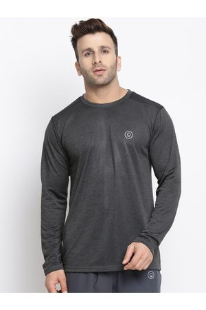 CHKOKKO Men Grey Solid Round Neck Dry Fit Training T-shirt