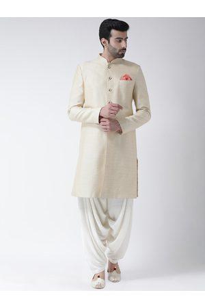 KISAH Men Sets - Men Cream-Coloured & White Jacquard Woven Design Sherwani Set