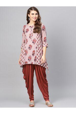 Biba Women Mauve & Rust Red Printed Kurti with Dhoti Pants