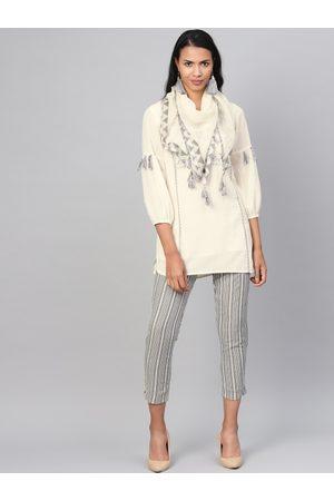 Biba Women Off-White & Grey Yoke Design Kurti with Trousers & Stole