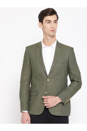 Arrow Men Olive Green Solid Body Tailored Fit Single-Breasted Linen Smart Casual Blazer