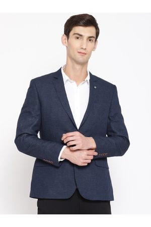 Arrow Men Navy Blue Checked Body Tailored Fit Single-Breasted Smart Casual Blazer