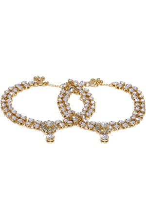 Zaveri Pearls Set of 2 Gold-Plated Kundan & Stone Studded Anklets