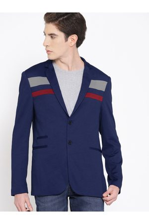 HARVARD Men Navy Blue Solid Single-Breasted Smart Casual Blazer