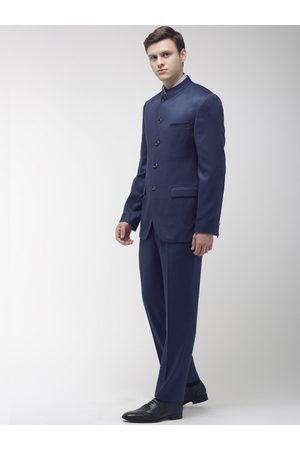 Park Avenue Men Blue Slim Fit Single-Breasted Formal Suit
