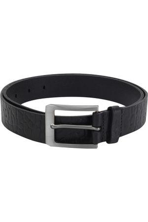 Aditi Wasan Men Black Textured Leather Belt