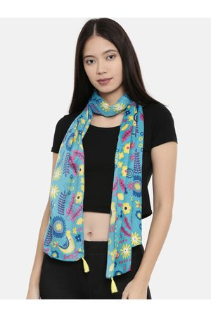 Chumbak Women Scarves - Women Teal Blue Printed Rectangular Scarf