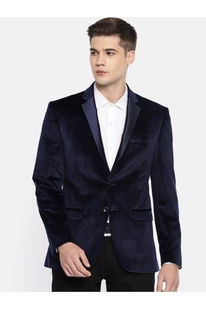 Park Avenue Men Navy Blue Solid Velvet Single-Breasted Super Slim Fit Formal Blazer