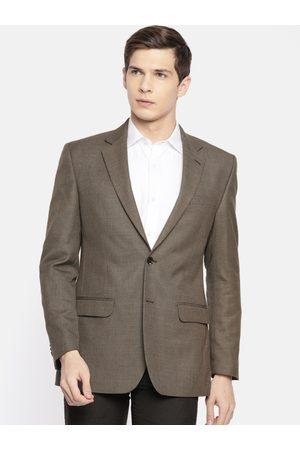 Park Avenue Men Brown Self-Design Slim Fit Single-Breasted Formal Blazer