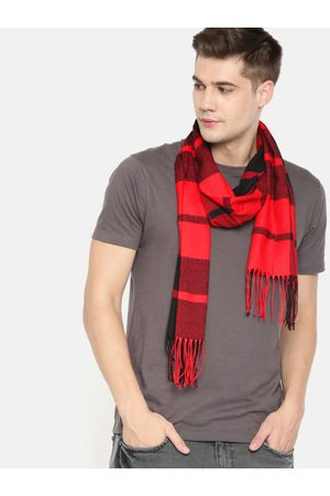 Mast & Harbour Unisex Red & Black Checked Acrylic Scarf