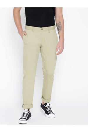 adidas Men Green Sharp Slim Fit Self Design Regular Trousers