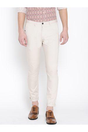 Blackberrys Men Cream-Coloured Slim Fit Solid Regular Trousers
