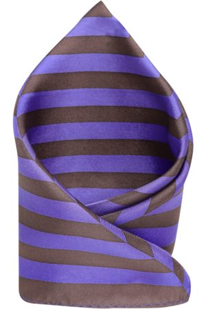 Park Avenue Purple & Coffee Brown Silk Striped Pocket Square