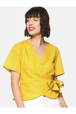 Campus Women Yellow Solid Wrap Top
