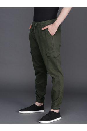 WROGN Men Green Regular Fit Solid Joggers