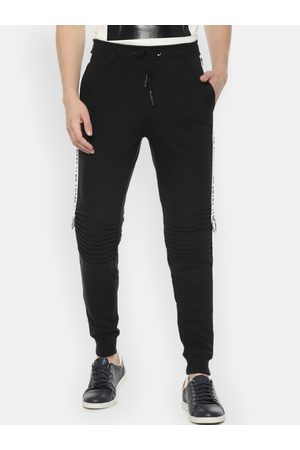 PEOPLE Men Black Solid Straight Fit Track Pants