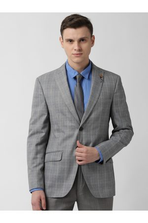Peter England Men Grey Checked Slim-Fit Single-Breasted Blazer