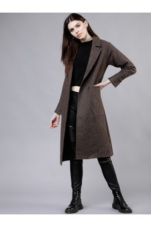 Tokyo Talkies Women Trench Coats - Women Brown Solid Double-Breasted Trench Coat