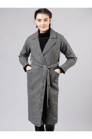 Tokyo Talkies Women Grey Solid Houndstooth Trench Coat