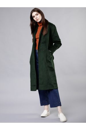 Tokyo Talkies Women Green Solid Double-Breasted Trench Coat