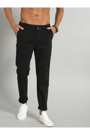 Roadster Men Black Regular Fit Solid Chinos