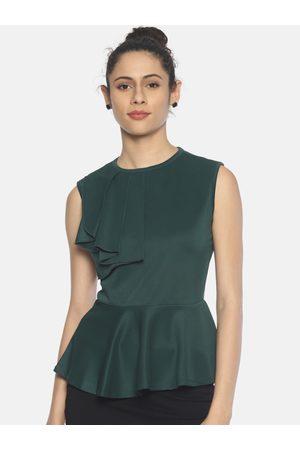 Aara Women Green Solid Peplum Top