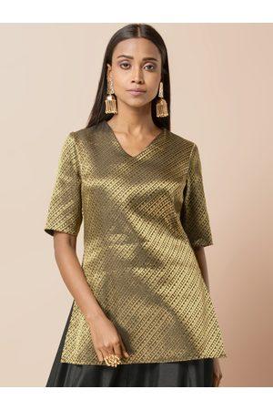 INDYA Women Black & Gold-Toned Woven Design A-Line Kurti