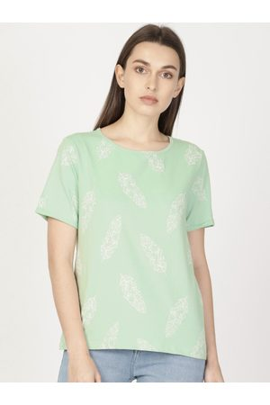 Ether Women Green Printed Round Neck T-shirt