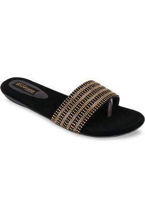 Shoetopia Women Gold-Toned & Black Solid Open Toe Flats