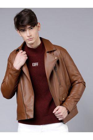 Highlander Men Brown Solid Biker Jacket