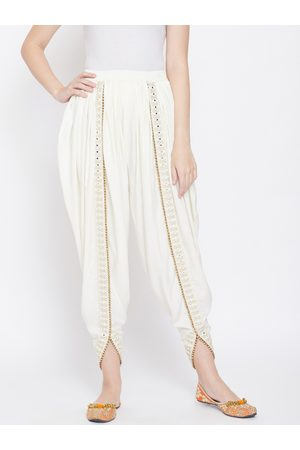 Castle Women Off-White Solid Dhoti Salwar With Embellished Border