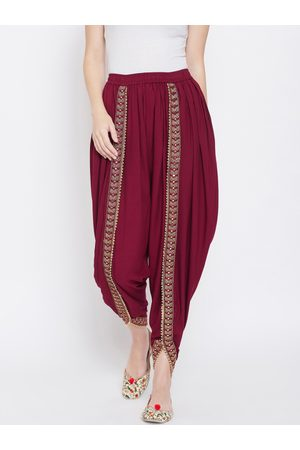Castle Women Maroon Solid Dhoti Salwar With Embellished Border