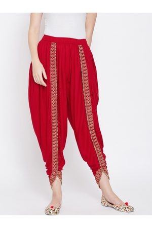 Castle Women Red Solid Dhoti Salwar With Embellished Border