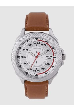 Helix Men White & Silver-Toned Analogue Watch TW034HG01