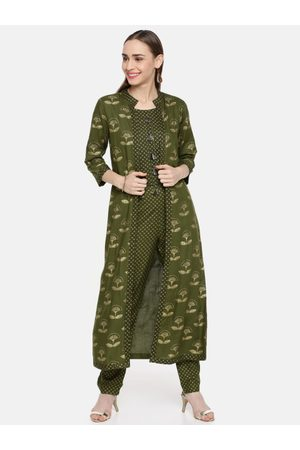 Kvsfab Women Olive Green & Gold-Toned Printed Layered Kurta with Trousers