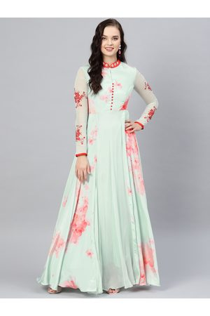 Inddus Women Sea Green & Red Floral Print Maxi Dress