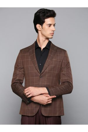 Louis Philippe Men Brown Self-Checked Single-Breasted Slim Fit Formal Blazer